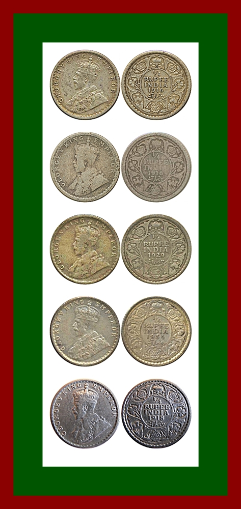 1916 1918 1929 1934 1/4 Quarter Rupee King George V Calcutta Mint - Worth Buy - Uget - 5 Coins
