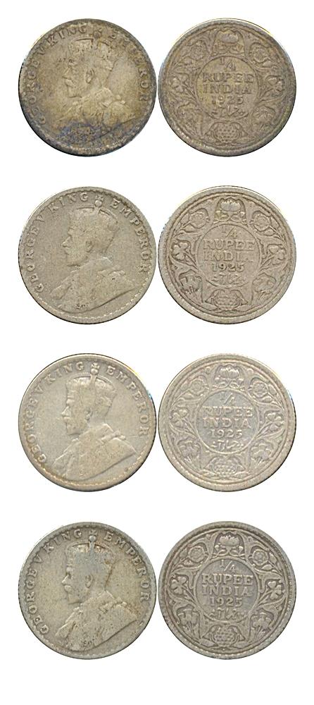 1925 1/4 Quarter Rupee King George V Bombay Mint - Best Buy - UGET -4 Coins