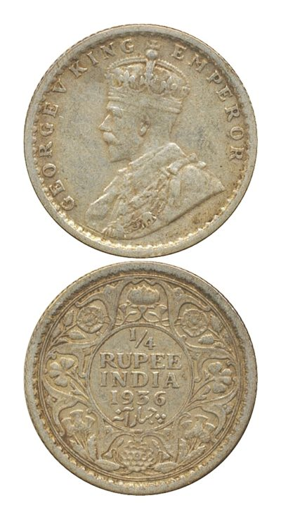 1936 1/4 Quarter Rupee King George V Silver Coin Calcutta Mint