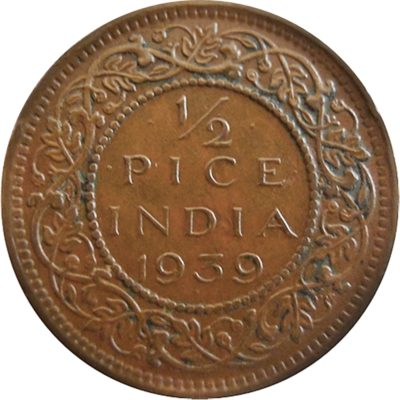 1939 1/2 Half Pice British India King George VI Bombay Mint - Best Buy
