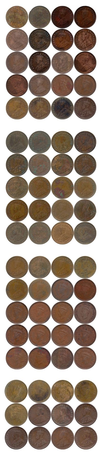 1/12 +1/2 + 1/4 anna & pice - Kings from 1915 to 1940 Set of 72 copper coins Best Buy