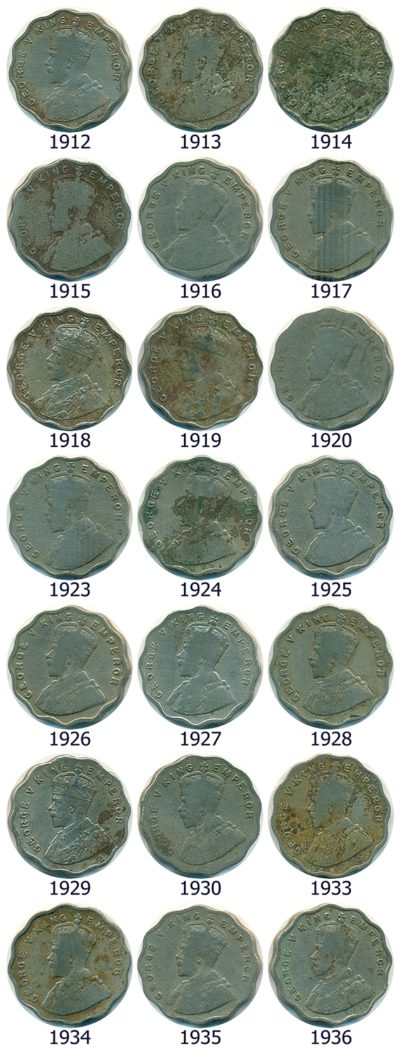 RARE Set of 1 Anna King George V 1912 to 1936 Calcutta & Bombay Mint