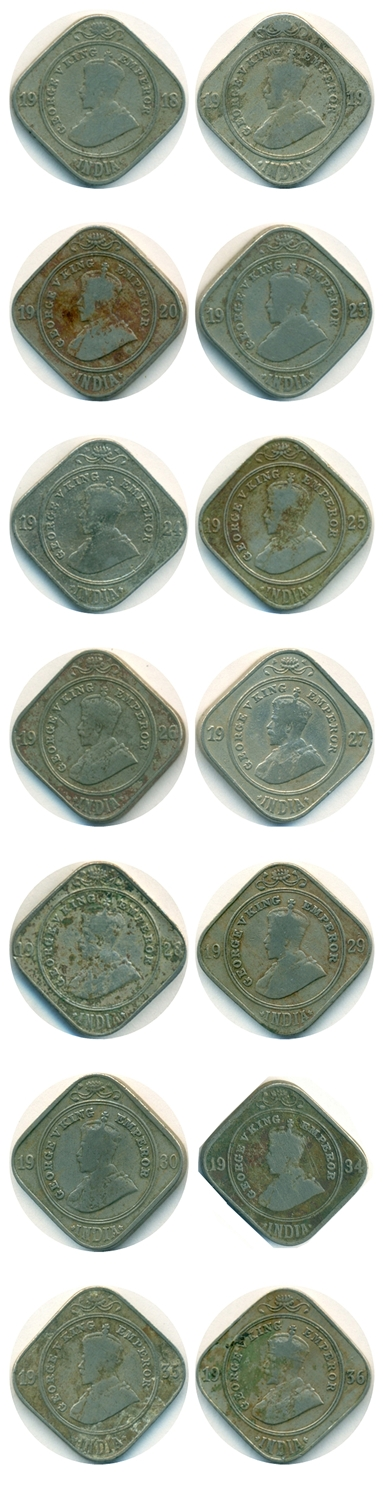 RARE Set of 2 Annas King George V 1918 to 1936 Calcutta & Bombay Mint