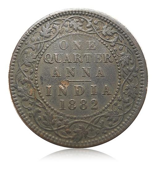 1882 1/4 Quarter Anna Queen Victoria Empress - RARE
