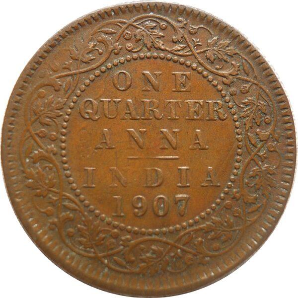 1907 1/4 Quarter Anna King Edward VII Calcutta Mint - Best Buy