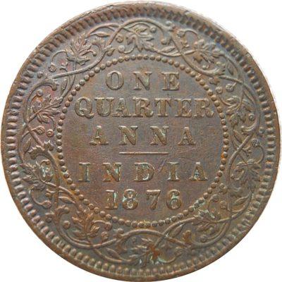 1876 1/4 Quarter Anna Queen Victoria - RARE COIN