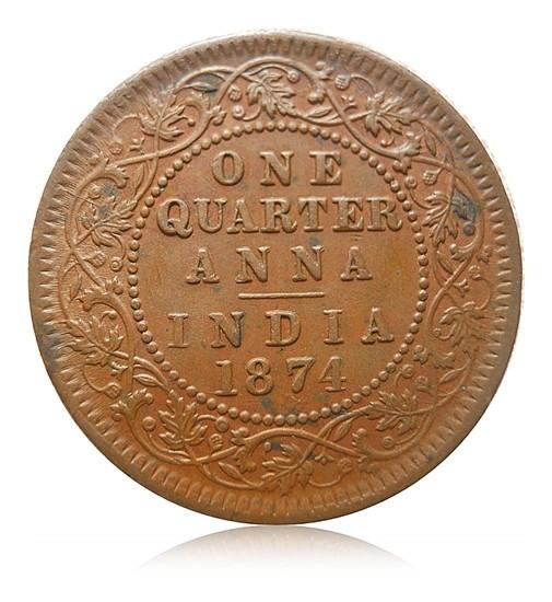 1874 1/4 Quarter Anna Queen Victoria Calcutta Mint - Best Buy