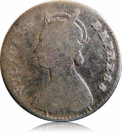 1877 2 Annas Silver Coin Queen Victoria Empress - RARE COIN