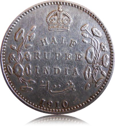 1910 1/2 Half Rupee Silver Coin King Edward VII Calcutta Mint - Best Buy