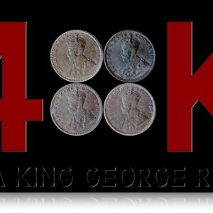 1912 1913 1914 1915 1/4 Rupee King George V Silver Coin - UGET - 4 COINS