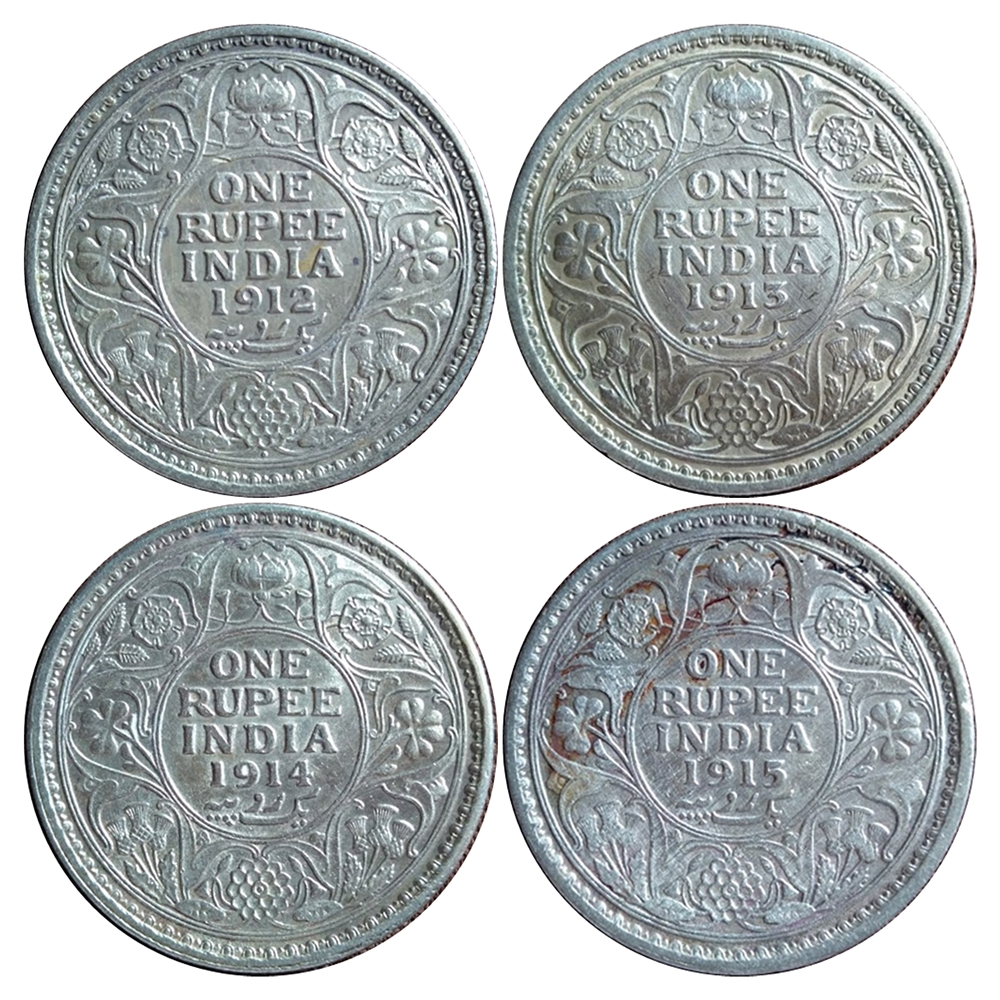 1912 1913 1914 1915 1 Rupee King George V Silver Coin - UGET - 4 COINS