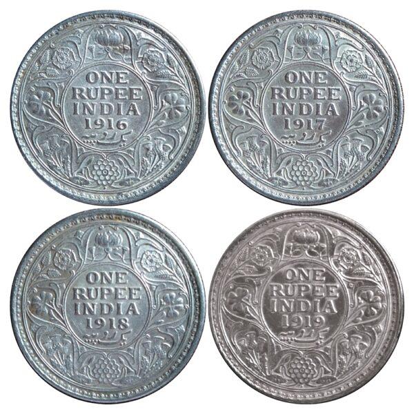 1916 1917 1918 1919 1 Rupee Silver Coin King George V Calcutta & Bombay Mint