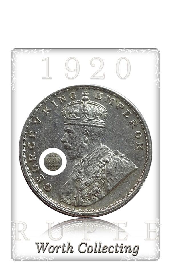 British India 1920 1 One Rupee Silver Coin King George V Calcutta Mint