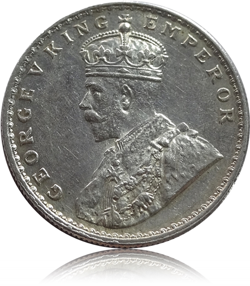 British India 1920 1 One Rupee Silver Coin King George V