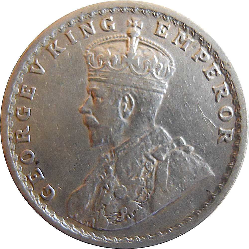 British India 1921 1 2 Rupee Silver Coin King George V