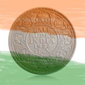 1922 1/2 Half Rupee Silver Coin King George V Calcutta Mint - Best Buy