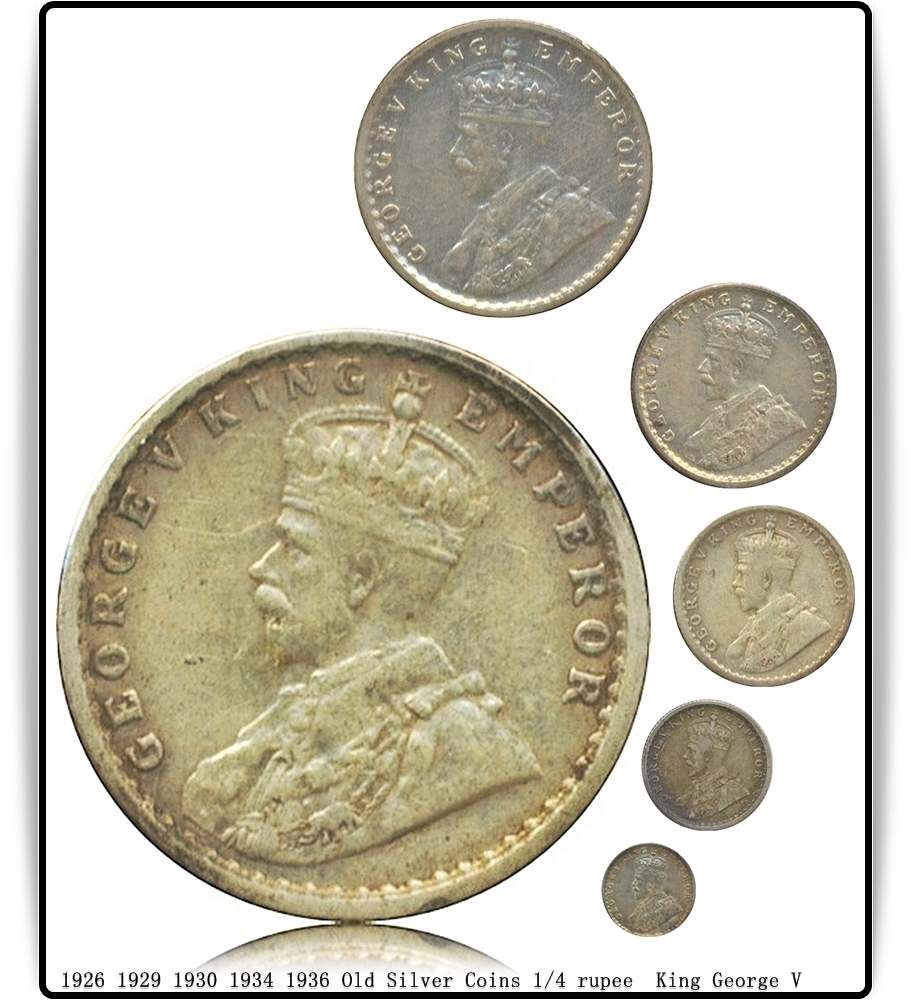 1926 1929 1930 1934 1936 Old Silver Coins 1/4 rupee King George V - Worth Buy