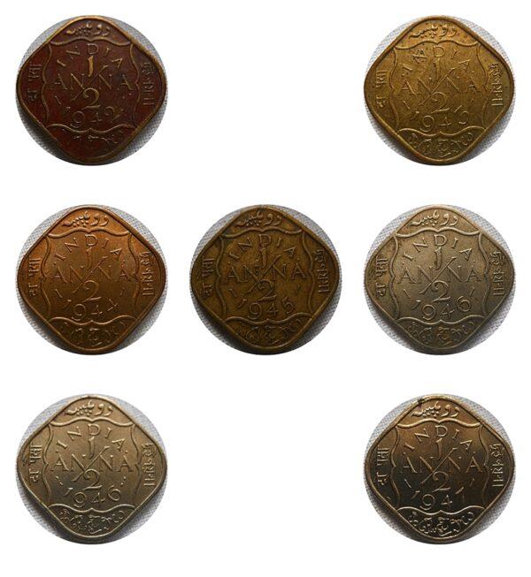 British India 1942 43 44 45 46 47 1/2 Half Anna King George VI - Calcutta Mint - UGET - 7 Coins