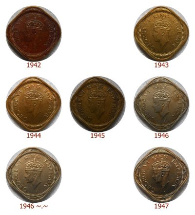 British India 1942 43 44 45 46 47 1/2 Half Anna King George VI - Calcutta Mint - UGET - 7 Coins