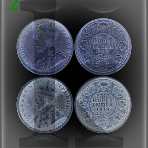 British India 1917 1918 1/2 Rupee Silver Coin King George V Bombay Mint