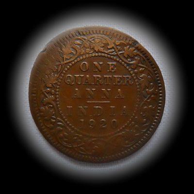 British India Die Error coin 1920 1/4 Anna King George V