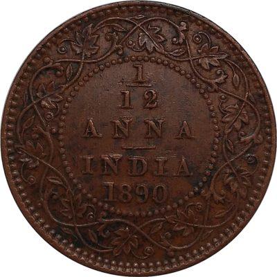 British India 1890 1/12 Anna Coin Queen Victoria Empress Calcutta Mint - Best buy