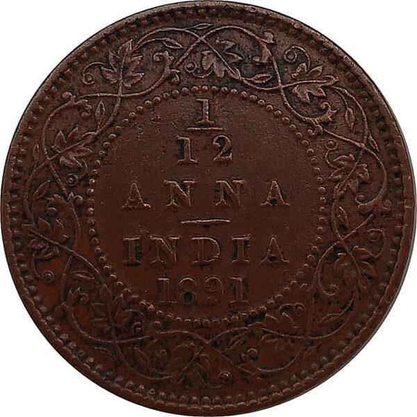 British India 1891 1/12 Anna Coin Queen Victoria Empress Calcutta Mint - Best Buy