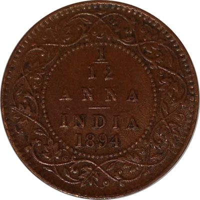British India 1894 1/12 Anna Coin Queen Victoria Empress Calcutta Mint - Best Buy