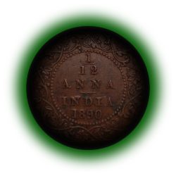 British India 1890 1/12 Anna Coin Queen Victoria Empress Calcutta Mint - Best buy