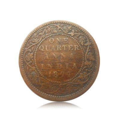 1877 1/4 Anna British India Queen Victoria Empress - Best Found -Worth