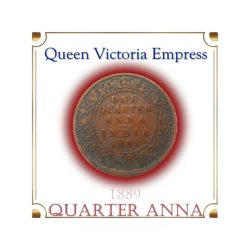 1889 1/4 Anna British India Queen Victoria Empress - Rare