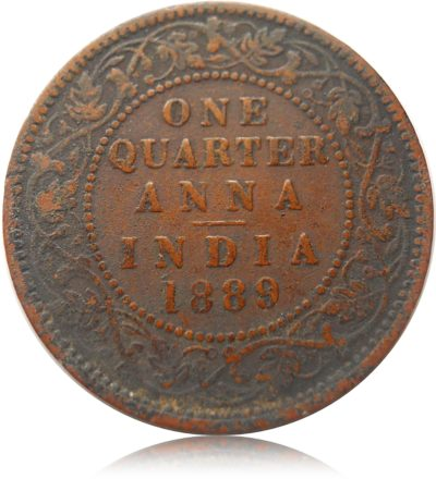 1889 One Quarter Anna British India Queen Victoria Empress