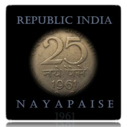 1961 25 Naye Paise Republic India Calcutta Mint