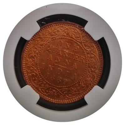 British India - 1889 1/4 Anna - Queen Victoria Empress - Marked with NGC - Certified Coin