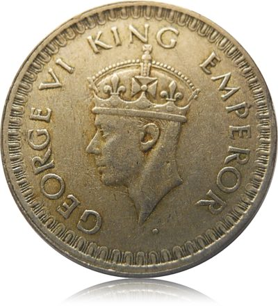 1944 1/2 Rupee Silver Coin King George VI Bombay Mint - GHOST COIN RARE