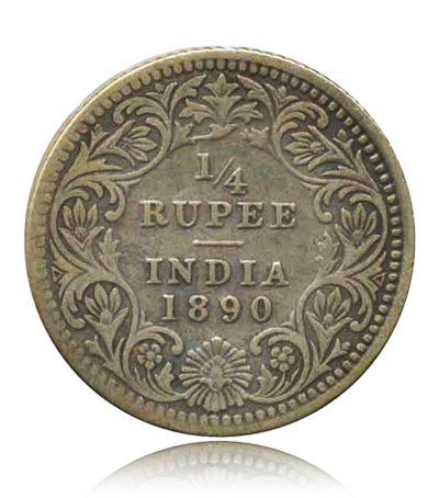 1890 1/4 Quarter Rupee Silver Coin Queen Victoria Empress - RARE COIN - Best Buy