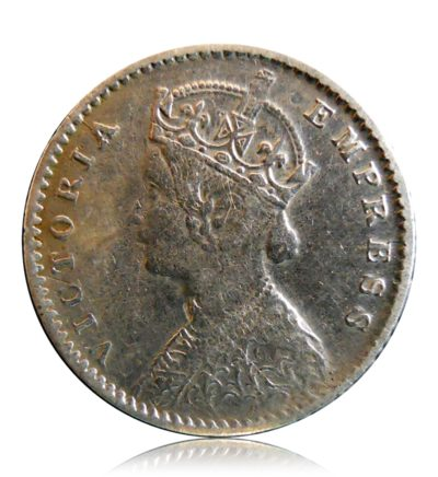 1901 2 Annas Silver Coin Queen Victoria Empress - Die Rotation - v mark Error Coin -