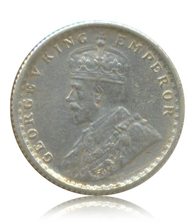1917  Quarter Rupee George V King Emperor  Calcutta Mint - Best Buy