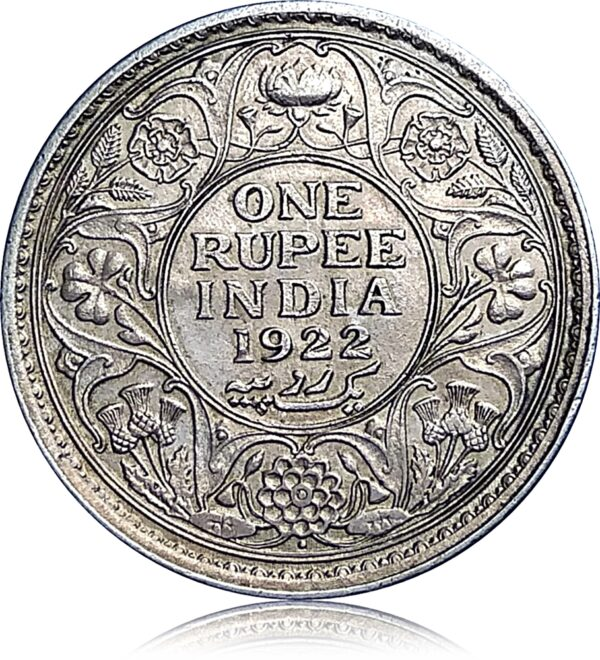 1922 1 Rupee Silver Coin British India King George V Bombay mint (R)
