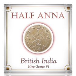 1944  1/2 Anna British India King George VI Calcutta Mint - Best Buy