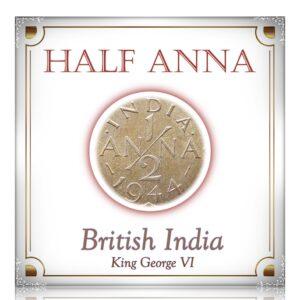 1944 1/2 Anna British India King George VI Calcutta Mint - Best Buy