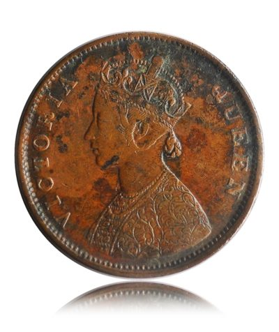 British India 1862 Queen Victoria Half Anna Coin - RARE