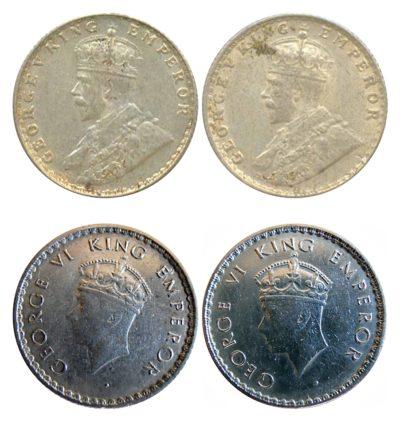 1914 1939 1/4 Quarter Rupee Silver Coin King George V & George VI Bombay & Calcutta Mint