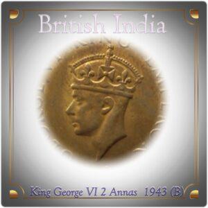 1943 British India King Georage VI 2 Annas Coin -worth collecting