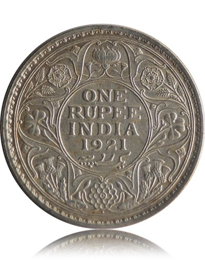 1921  1 Rupee Silver Coin British India King George V Bombay mint - RARE