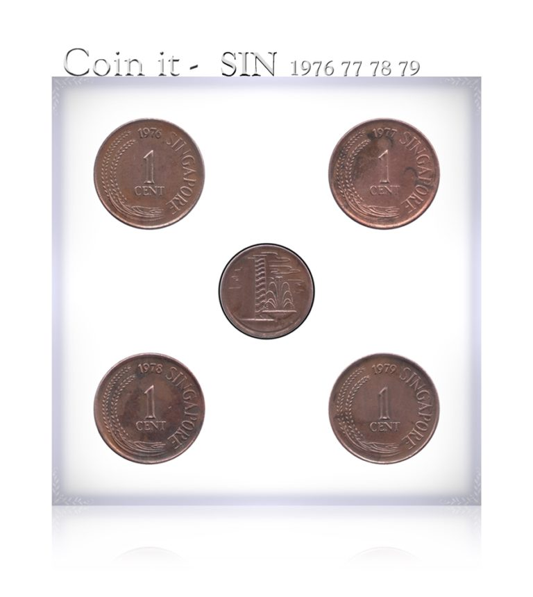 1976 1977 1978 1979 1 Cent Singapore Coin - 4 Coins