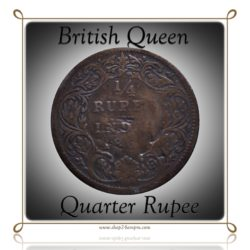 1862 British India 1/4 Quarter Rupee Queen Victoria - RARE COIN