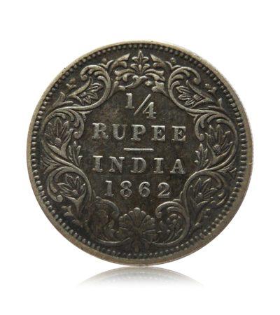 1862 British India Queen Victoria Silver Quarter Rupee Coin Rare