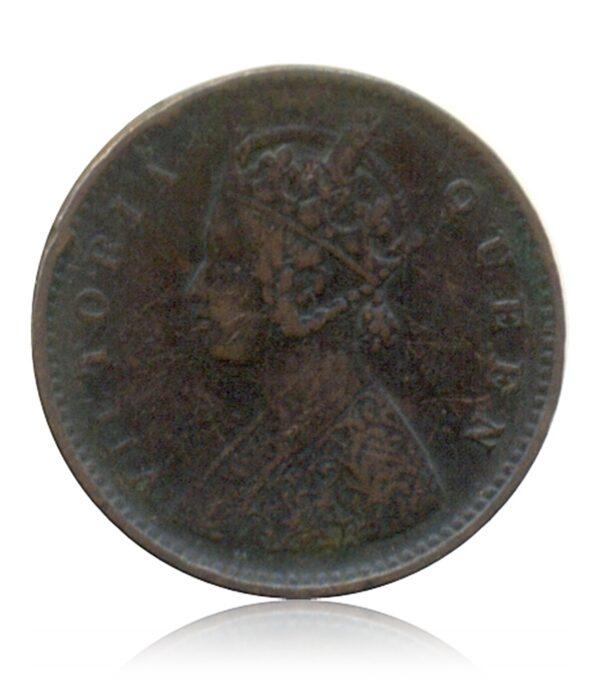 1862 1/12 Twelve Anna Queen Victoria Bombay Mint - Rare Coin