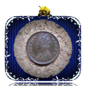 1876 British India 1/12 Twelve Anna Queen Victoria - RARE COIN